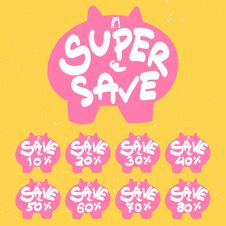 Free Piggy Bank Save Banner Stock Photography - 30104402
