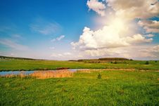 Free Beautiful Summer Field With River Stock Image - 30106711
