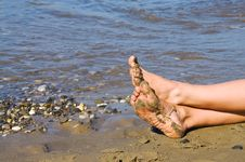 Free Legs On The Sand Stock Image - 30106881