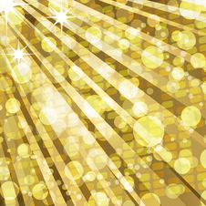 Golden Disco Lights And Mosaic Background Royalty Free Stock Photo