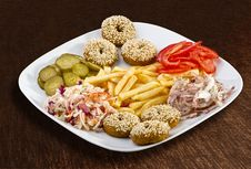 Free Falafel With French Fries And Vegetables Stock Images - 30108904
