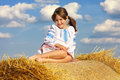 Free Small Rural Girl On The Straw Royalty Free Stock Photo - 30110235