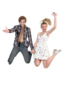 Free Lovely Couple Jumping Stock Images - 30110024
