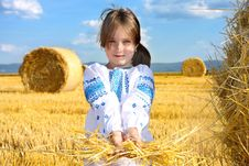 Free Small Rural Girl On Harvest Field Royalty Free Stock Photo - 30110185