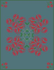 Free Abstract Baroque Roses Postcard Royalty Free Stock Photos - 30110338