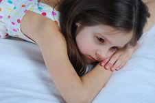 Free Young Child, Lying Awake In His Bed Royalty Free Stock Photo - 30110785