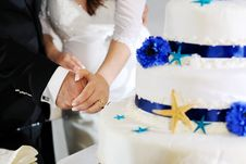 Free Groom And Bride Hands Cutting Wedding Cake Royalty Free Stock Photo - 30111775
