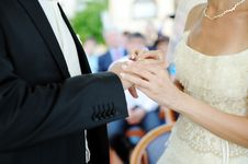 Free Bride And Groom Hands With Ring Wedding Royalty Free Stock Image - 30111816