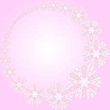 Pink Round Frame With Flowers Stock Photography