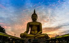 Big Golden Buddha Statue In The Temple Stock Photos