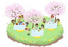 Free Cafe Of The Cherry Blossom-3 Royalty Free Stock Image - 30118446