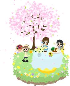 Cafe Of The Cherry Blossom-2 Royalty Free Stock Images