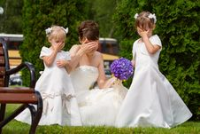 Bride With Little Girls Stock Photos