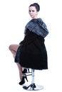 Free Woman In Luxury Black Color Fur Coat Looking Back Stock Image - 30121451