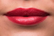 Free Female Lips With Red Lipstick Stock Images - 30120634