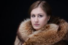 Portrait Of Beauty Woman In Luxury Winter Fur Coat Stock Photo