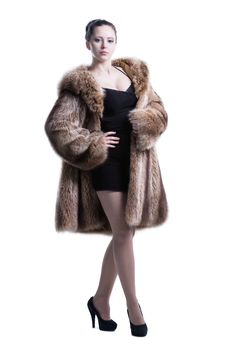 Free Young Lady Wearing Luxury Winter Fur Coat Stock Photos - 30121393