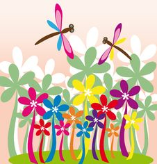 Free Flower Garden With Dragonflies Stock Photography - 30122142