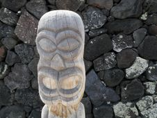 Tiki Statue At Place Of Refuge Hawaii Stock Photography