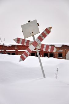 Old Road Sign In The Snow. Royalty Free Stock Photo