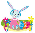 Free Easter Eggs And Cute Rabbit Girl Stock Photos - 30134203