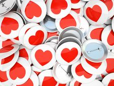 Buttons Wirh Red  Hearts  On Background Royalty Free Stock Photo
