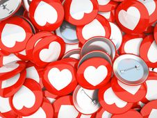 Buttons With White Hearts  On Background Royalty Free Stock Image
