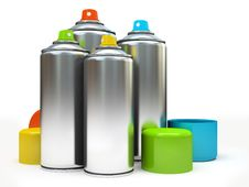Free Row Of Containers With Multicolored Paint On White Background Stock Photo - 30130540