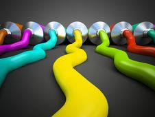Free Row Of Tubes With Multicolored Paint On Grey Background Royalty Free Stock Image - 30130546