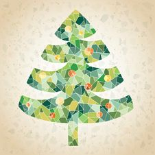 Free Grunge Mosaic Christmas Tree Greeting Card Royalty Free Stock Images - 30132949