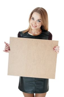 Free Beautiful Smiling Girl Showing   Empty Wooden Notice Board. Royalty Free Stock Photography - 30137707