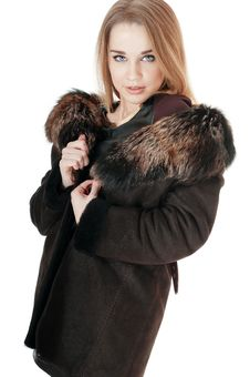 Free Elegant Woman Wearing Brown Sheepskin Coat With Fur. Stock Photography - 30137722