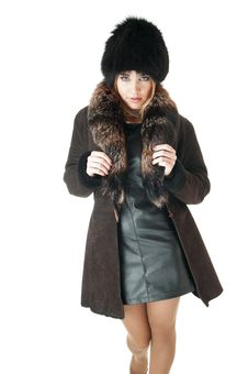 Free Elegant Woman Wearing Brown Sheepskin Coat And  Hat With Fur. Royalty Free Stock Photos - 30137748