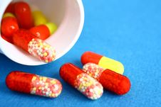Free Colored Pills And A Jar Royalty Free Stock Photography - 30139787