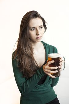Free Beautiful Young Woman Holding Mug Of Beer Stock Photos - 30139863
