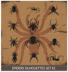 Free Halloween Spiders Silhouettes Symbols Set Royalty Free Stock Images - 30140489