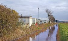 Free Caravans Along Tow Path Canal Stock Photos - 30140953