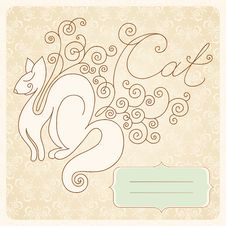 Free Vintage Card With A Cat Royalty Free Stock Images - 30142919