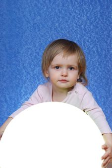 Free Child With Ball, Portrait On A Blue Background Royalty Free Stock Photography - 30143617