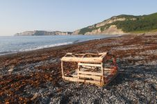 Free Lobster Trap On Gaspe Shoreline Royalty Free Stock Image - 30146536