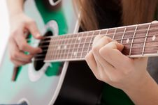 Free Beautiful Girl With Guitar  On White Background Royalty Free Stock Image - 30146956