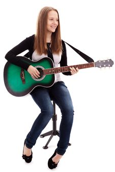 Free Beautiful Girl With Guitar  On White Background Stock Photography - 30147132