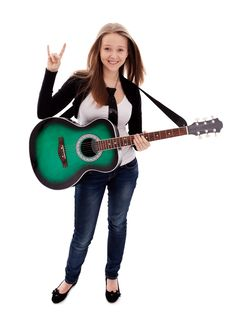 Free Beautiful Girl With Guitar  On White Background Royalty Free Stock Images - 30147159