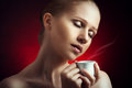 Free Sexy Woman Enjoying A Hot Cup Of Coffee On A Dark Background Royalty Free Stock Image - 30158766