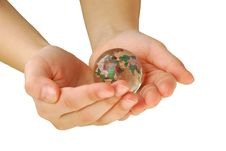 Glass Globe In Hand, Isolated Stock Image