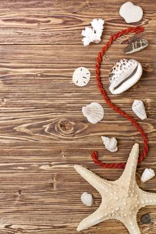 Free Starfish, Seashells And Stones Brown Wooden Background Stock Image - 30152251