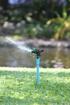 Photo Of A Sprinkler In Action. Royalty Free Stock Images