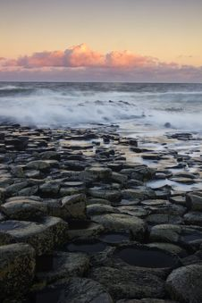 Sunrise At The Famous Giant S Causeway Royalty Free Stock Image