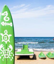 Free Water Sports Equipment - Rimini Beach, Italy Royalty Free Stock Image - 30157956