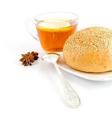 Free Roll With Sesame,tea Spoon And Anise On  Of Tea Stock Photos - 30158433